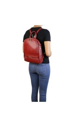 Женский кожаный красный фирменный рюкзак Tuscany Leather TL141376 red