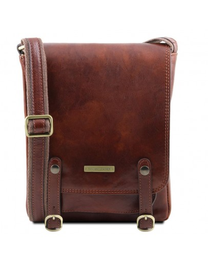 Фотография Коричневая мужская кожаная сумка на плечо Tuscany Leather TL141406