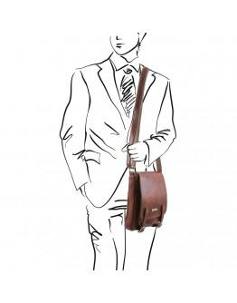 Коричневая мужская кожаная сумка на плечо Tuscany Leather TL141406