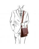 Фотография Мужская черная сумка через плечо Tuscany Leather TL141407 bl