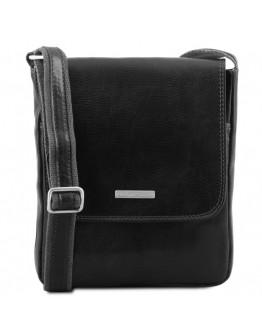 Черная плечевая мужская сумка фирменная сумка Tuscany Leather TL141408 black