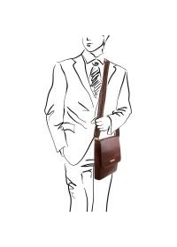 Коричневая мужская плечевая кожаная сумка Tuscany Leather TL141408
