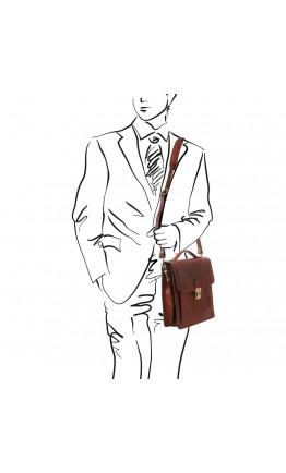 Мужская темно-коричневая кожаная барсетка Tuscany Leather TL141424