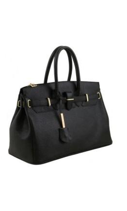 Кожаная женская фирменная вместительная сумка Tuscany Leather TL141529 black