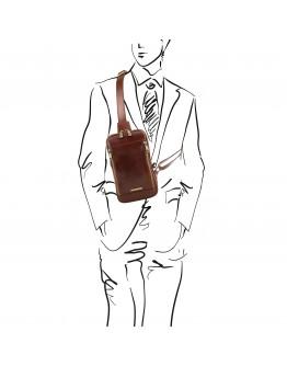 Черный кожаный мужской фирменный слинг Tuscany Leather Martin TL141536 black