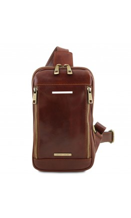 Коричневый фирменный мужской слинг Tuscany Leather Martin TL141536 brown