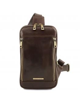 Темно-коричневый кожаный слинг - кроссовер Tuscany Leather Martin TL141536 brownb