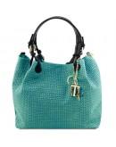 Фотография Женская кожаная бирюзовая сумка Tuscany Leather TL Bag TL141573 TL KeyLuck bir