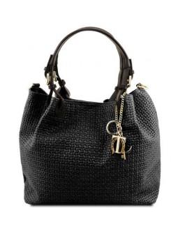 Черная женская кожаная сумка Tuscany Leather TL Bag TL141573 TL KeyLuck black