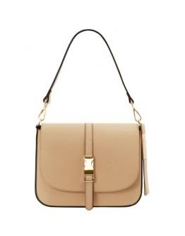 Женская бежевая кожаная сумочка Tuscany Leather TL141598 Nausica champagne