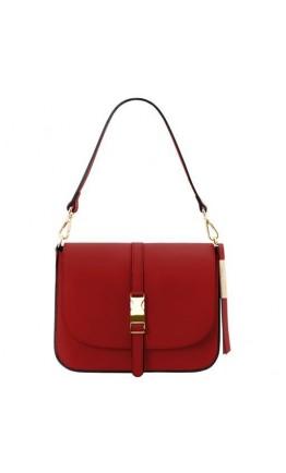 Женская кожаная фирменная красная сумка Tuscany Leather TL141598 Nausica red