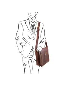 Большая вместительная темно-коричневая сумка на плечо Tuscany Leather TL141650