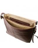 Фотография Большая вместительная темно-коричневая сумка на плечо Tuscany Leather TL141650