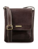 Фотография Темно-коричневая мужская кожаная сумка на плечо Tuscany Leather TL141407 bbrown