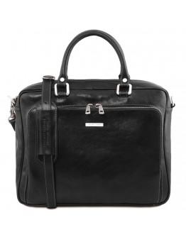 Кожаная черная сумка-портфель для ноутбука Tuscany Leather TL141660