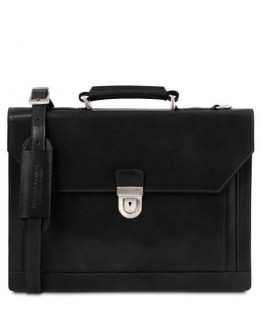 Черный кожаный вместительный портфель Tuscany Leather Cremona TL141732 black