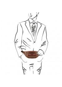 Темно-коричневая фирменная сумка на пояс TUSCANY LEATHER TL141797 bbrown