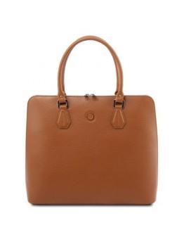 Кожаная фирменная женская сумка коньячного цвета Tuscany Leather Magnolia TL141809 con