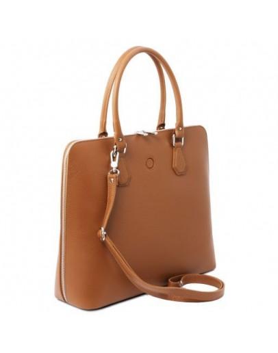 Фотография Кожаная фирменная женская сумка коньячного цвета Tuscany Leather Magnolia TL141809 con