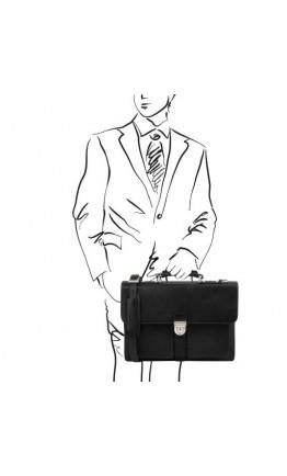 Кожаный портфель на 3 отделения Tuscany Leather Assisi TL141825 black