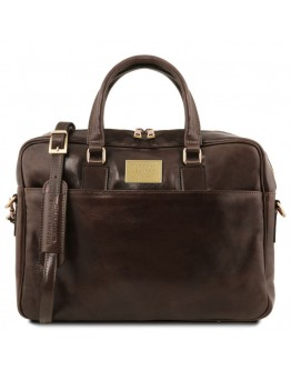 Темно - коричневая фирменная сумка для ноутбука Tuscany Leather Urbino TL141894 brownb