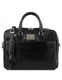 Черный фирменный мужской портфель - сумка Tuscany Leather Urbino TL141894 black