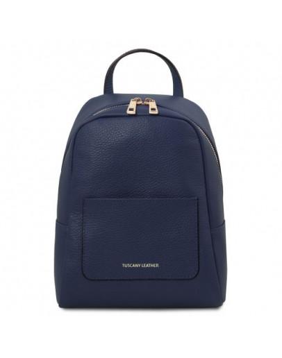 Фотография Синий женский кожаный небольшой рюкзак Tuscany Leather TL142052 TL Bag blue