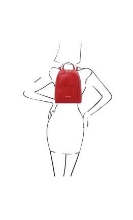 Красный женский небольшой кожаный рюкзак Tuscany Leather TL142052 TL Bag red