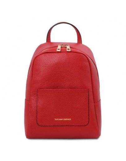 Фотография Красный женский небольшой кожаный рюкзак Tuscany Leather TL142052 TL Bag red