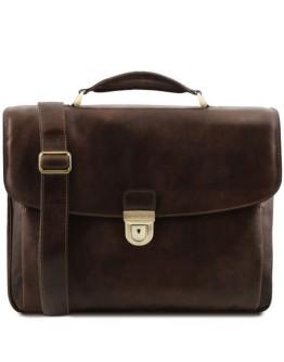 Темно-коричневый мужской фирменный портфель Tuscany Leather TL142067 Alessandria bbrown