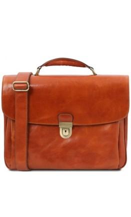 Кожаный оригинальный мужской фирменный портфель Tuscany Leather TL142067 Alessandria honey