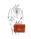 Фотография Кожаный оригинальный мужской фирменный портфель Tuscany Leather TL142067 Alessandria honey