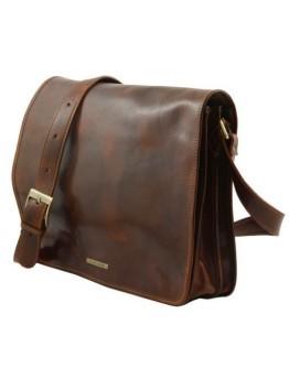Вместительный кожаный мессенджер Tuscany Leather Messenger Double TL90475