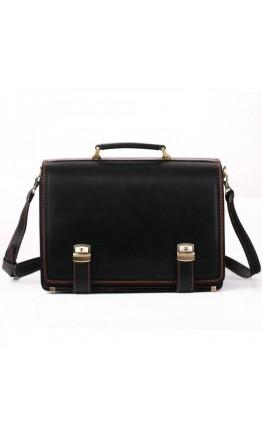 Черный удобный кожаный мужской портфель Manufatto tm1-black brown