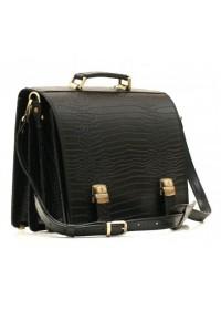 Чёрный портфель из прочной натуральной кожи Manufatto tm-1 croco