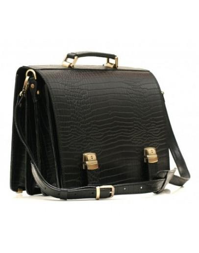Фотография Чёрный портфель из прочной натуральной кожи Manufatto tm-1 croco
