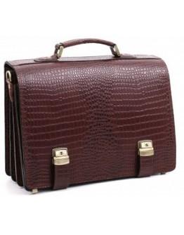 Коричневый рифлёный кожаный портфель Manufatto tm-1 brown cr