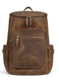 Вместительный кожаный мужской винтажный рюкзак Vintage 14887