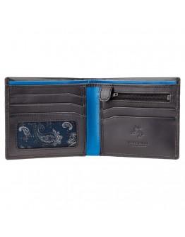 Кожаный чёрный мужской кошелёк Visconti PM101 Pablo (black/cobalt)