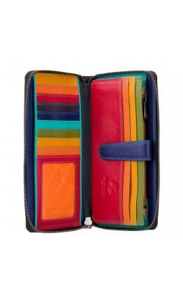 Кожаный клатч кошелёк женский Visconti SP33 - Iris (black-multi)