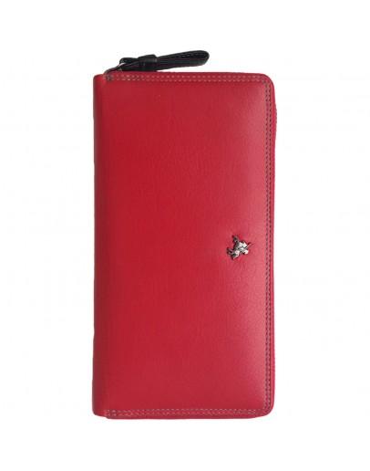 Фотография Красный кожаный клатч кошелёк Visconti SP33 - Iris (red-multi)