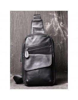 Черный мужской кожаный слинг Vn123-5A