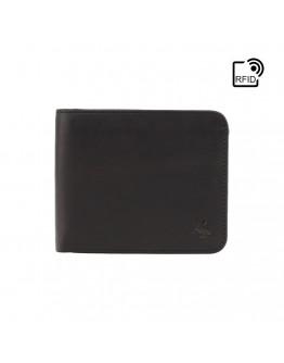 Кожаный черный кошелек Visconti Visconti VSL35 Trim c RFID (Black-Cobalt)