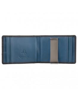 Черный кожаный зажим для купюр Visconti VSL57 (Black/Cobalt)