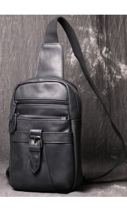 Мужская черная кожаная сумка слинг Vt1231A