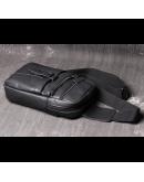 Фотография Мужская черная кожаная сумка слинг Vt1231A
