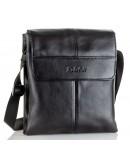 Фотография Мужская черная удобная вместительная кожаная сумка на плечо VZ-074