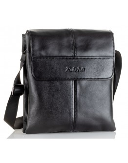 Мужская черная удобная вместительная кожаная сумка на плечо VZ-074