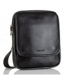 Фотография Удобная кожаная черная мужская сумка на плечо VZ-012-3