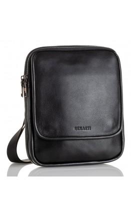 Удобная кожаная черная мужская сумка на плечо VZ-012-3
